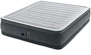 Intex 18-inch Inflatable Fiber-Tech Elevated Premium Plush Airbed Mattress with Built-in Pump, King