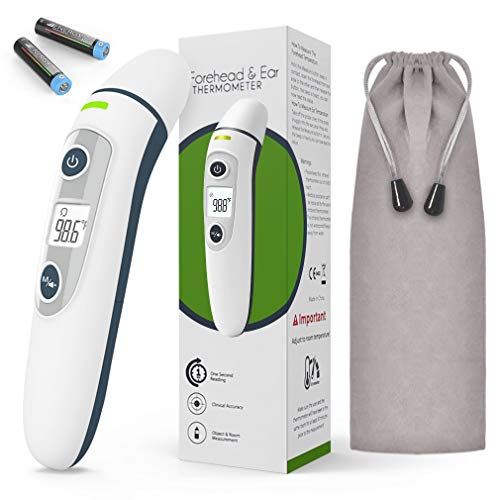Forehead and Ear Thermometer, Profession Medical Digital Infrared Temperature Gun for Baby, Kids and Adult with Fever Alarm, Memory, Accurate Instant Readings, LCD Display