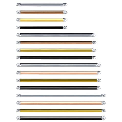 MODRSA 14G 20MM 32MM 35MM 38MM Sustitución Barbell Piercing para Industrial Piercing Bars Acero Quirurgico Plata Oro Negro Oro Rosa Mujer Tornillo Barbells Joyería 16Piezas