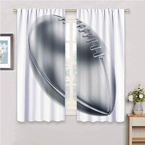 DIMICA Blackout Window Curtains grey realistic american football in 3d style sports theme champion victory trophy for Bedroom Kindergarten Living Room gray pale grey white_1 W63 x L45 Inch