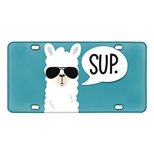 Coloranimal - Placa de metal siberiano Husky de metal para coche, metal, Alpaca divertida., talla única