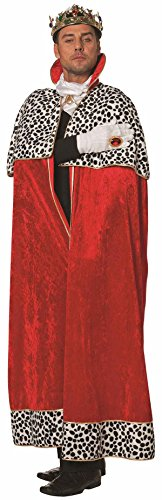 TH Disfraz de reina y rey de cuentos de hadas medieval (capa reina para hombre rojo, 58)