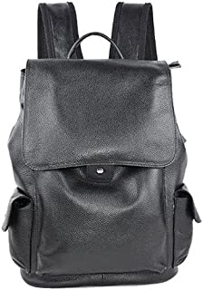 Fmdagoummzibeib Backpack, Genuine Leather Head Layer Cowhide Lychee Pattern Backpack, Everyday All-Match ,Extraneous Usb C...