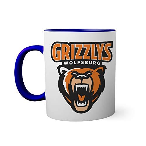 Ice Hockey Team Grizzlys Wolfsburg Eishockey Tasse innen und am Henkel dunkelblau außen weißS Mug| Lustige Neuheitstassen für Kaffee und Tee 330ml