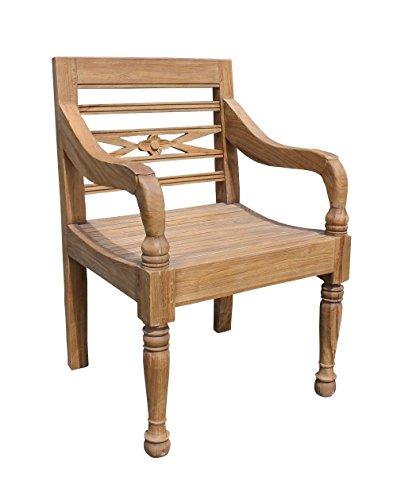 Teak GARTENSTUHL Solis Teakholz Antik Massiv Armlehnstuhl Stuhl Sessel