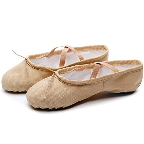AGYE Zapatillas de Ballet Canvas, Zapatillas de Ballet de Lona para Niños, Zapatillas de Baile Profesionales para Mujer, para Niñas, Niños Pequeños, Mujeres,Camel-26