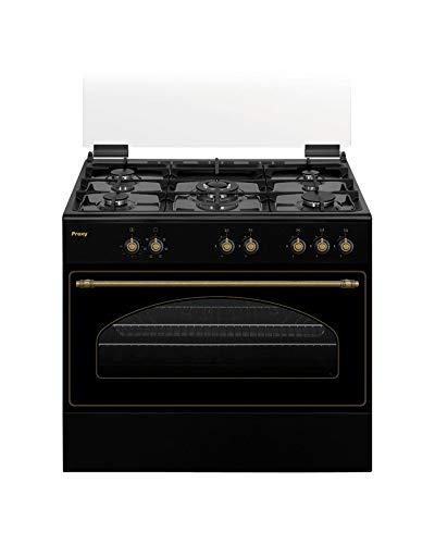 Cocina rústica 90 cm de ancho con maxihorno PROXY, color negro mate, 5 fuegos (incluye 1 Triple Fuego) y horno con grill a gas (butano o natural).