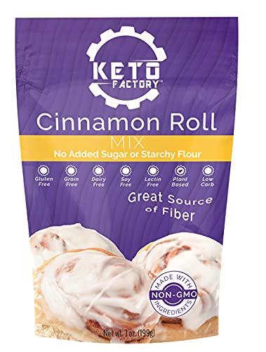 Keto Factory Cinnamon Rolls Mix, 7 Oz   100% Natural, Keto and Diabetic Friendly, Low 2g Net Carbs, High 8g Dietary Fiber, Gluten-Free, Dairy Free, Grain-Free, No added Sugars