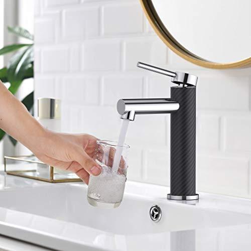 Synlyn Schwarz Kohlefaser Wasserhahn Bad Armatur Einhebel-Mischbatterie Badarmatur für Bad Badezimmer Waschbecken Waschtisch Einhebelmischer