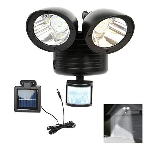 PQZATX 22 LED Luz de punto solar detector de seguridad dual Foco exterior de sensor de movimiento