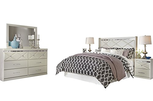 Ashley Dreamur 5PC Bedroom Set Full Panel Headboard Dresser Mirror Two Nightstands in Champagne