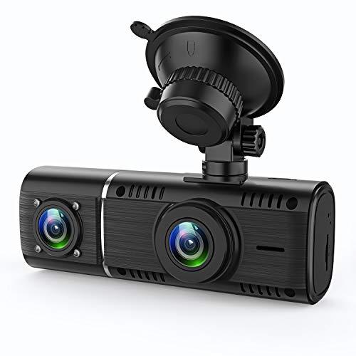 GreenGee ドライブレコーダー 前後カメラ 1080P+720P 前後同時録画/同時表示 前170°後140°超広角回転レンズ 4つの赤外線暗視ライト 32GBカード付き 128GBまで対応 日本語取説付 WDR/HDR機能 Gセンサー 駐車監視 動態監視 衝撃/ループ録画
