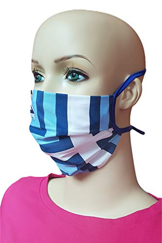 Torelle Mundmaske aus 100{3b708544a9a60da4c8f3d6424c2cdc8cc53b1dce7b045482e68758dfcfc50fcf} gewebter Baumwolle (2-lagig) waschbar, EU Produkt und Stoffe, Behelfsmaske, Gesichtsmaske, Stoffmaske, Mundbedeckung (One Size, Weiss-blau)