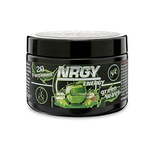 NRGY Gaming Power Pulver - 80g 20 Portionen - Green Wave Apple Kiwi Limette - eSports Energy Drink Pulver Booster für Gamer - Booster für Euer Game für mehr Konzentration