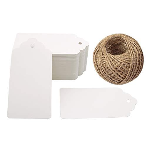 G2PLUS 100Stk. Weiß Kraftpapier Etiketten Tags 5CM *10CM Geschenkanhänger Anhänger Etiketten mit Jute-Schnur 30 Meter
