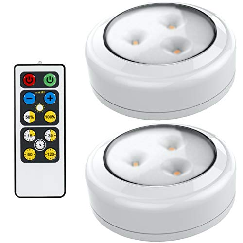 Brilliant Evolution LED Puck Light 2 Pack with Remote | Wireless LED Under Cabinet Lighting | Under Counter Lights for Kitchen | Battery Operated Lights | Under Cabinet Light | Battery Powered Lights