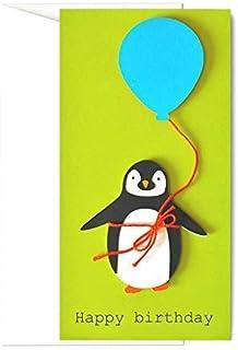 Birthday - pinguino - palloncino azzurro - porta soldi - biglietto d'auguri (formato 21 x 11 cm) - vuoto all'interno, idea...