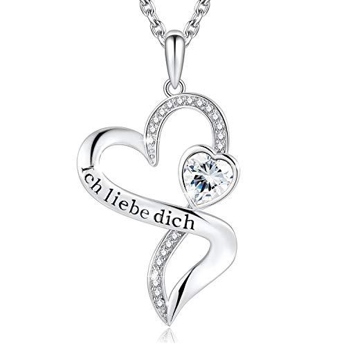 Halskette Damen Herzkette'Ich Liebe Dich' Kette Damen Silber 925 Zirconia von Swarovski Halsketten für frauen Schmuck Damen Geschenke Für Frauen Geburtstag geschenk fuer frauen valentinstag