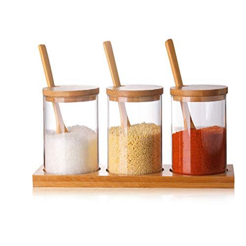 wpy Vidrio Hierba Especias Herramientas Condimento Botella Vidrio Sal Azúcar Té Productos Secos Tarros de Almacenamiento con Cuchara de Madera Utensilios de Cocina