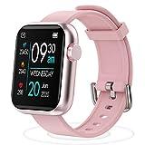 Smartwatch Reloj Inteligente con Pulsómetro, Monitor de Sueño Cronómetros,Podómetro Pulsera Caloría Pulsómetros Notificación de llamadas por SMS múltiples modos de deporte Fitness Watch (Rosa)