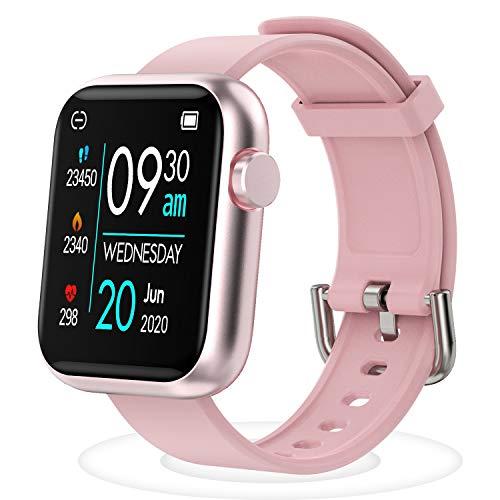 Smartwatch Fitness Tracker - mit Pulsuhren Smart Watch Schrittzähler Schlafmonitor SMS-Anrufbenachrichtigung mehrere Sportmodi für Damen Herren Kinder mit Herzfrequenz Schlaftracker (Rosa)