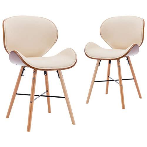 vidaXL 2X Bugholz Esszimmerstuhl Küchenstuhl Essstuhl Stuhl Set Stühle Wohnzimmerstuhl Polsterstuhl Esszimmerstühle Creme Kunstleder