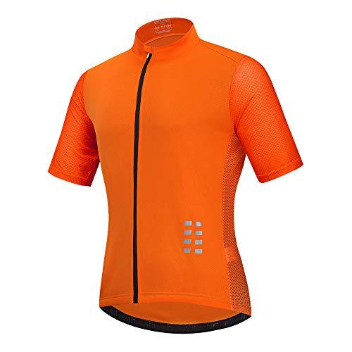 Hombre Manga Corta Maillot De Ciclismo,Bicicleta Camiseta/Maillot Cima Transpirable Secado Rápido Deportes Ropa,para Correr, Caminar, Bicicleta Montaña, Acampar, Escalar,Naranja,XXL