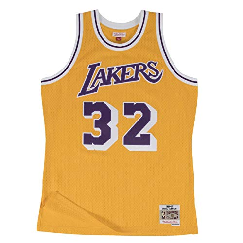 Mitchell & Ness NBA Swingman Magic Johnson Los Ángeles Lakers 1984-85 Hardwood Classics - Camiseta de manga corta, color amarillo