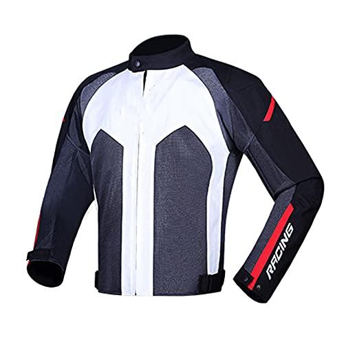CYzpf Chaqueta de Moto Reflexivo Ropa Ligera y Transpirable Equipo Protección Impermeable Abrigo Informal Motorcycle Jackets Exteriores Accesorios para Hombres Mujeres,White,M