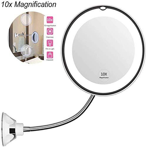LED 10X Kosmetikspiegel Schminkspiegel Mit LED-beleuchtetem 10X Vergrößerungsspiegel mit Saugnapf und flexiblem Schwanenhals 360 ° Verstellbarer Badspiegel batteriebetrieben
