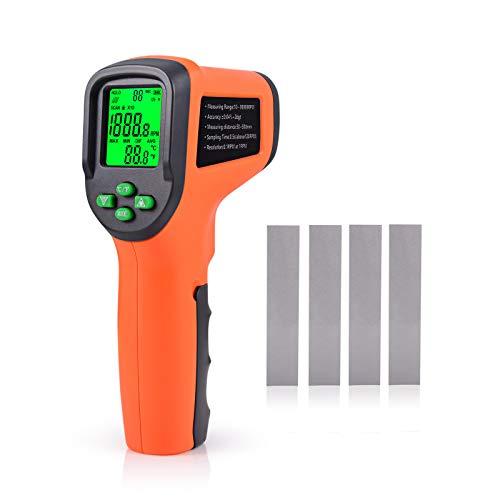 Winjun Professional Digital Tachometer Berührungslos Drehzahlmesser mit Große LCD Anzeige Schutzhülle Reflexstreifen Für Industrie Auto Elektromotoren Messwerkzeug