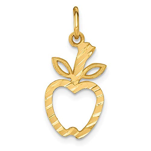 14k Yellow Gold Apple Pendant Charm Necklace Food Drink Career Professional Teacher Fine Jewelry For Women Gifts For Her