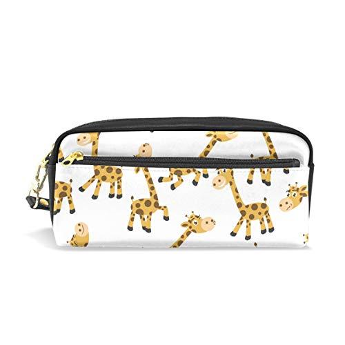 XLING Pencil Case Cute Animal Giraffe Cartoon Leather Pen Pencil Case Box Pouch Zipper Makeup Cosmetic Bag Travel