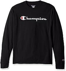 Champion Mens Big Logo Long Sleeve Shirt, Black, L