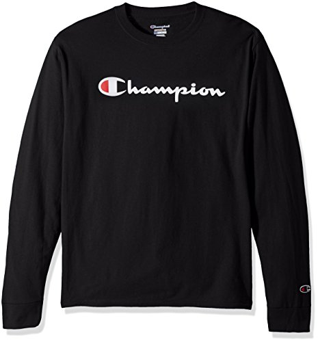Champion LIFE Men's Cotton Long Sleeve Tee, Black/Patriotic Script, Medium