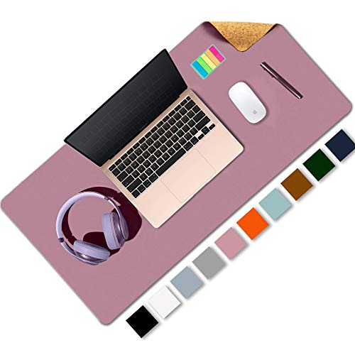 Aothia Office Desk Pad, Natural Cork & PU Leather Dual Side Large Mouse Pad