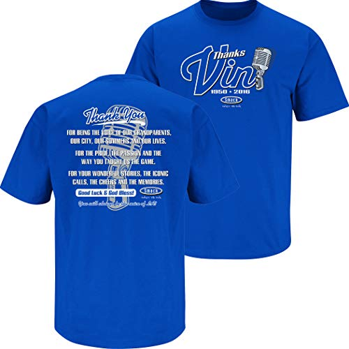 Los Angeles Baseball Fans. Vin Scully Tribute. Blue T-Shirt (Sm-5X) (Short Sleeve, Small)