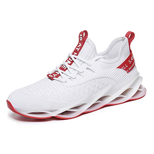 Zapatillas de Deportes Hombre Mujer Zapatos Deportivos Running Zapatillas para Correr Ligero y con Estilo Negro Blanco Gris Dorado G111 White Red 40EU