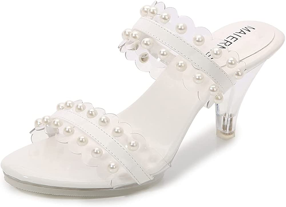 keleimusi Women's Two Strap Open Toe Kitten Heeled Sandals Pearl Clear High Heel Slides Backless Mules