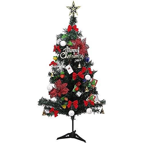 Árbol de Navidad Árbol de Navidad grande con base resistente y faldón de árbol Árbol de Navidad artificial con lazo rojo de Navidad y bolas decorativas Cadena de luz LED de 3000 K Abeto nórdico