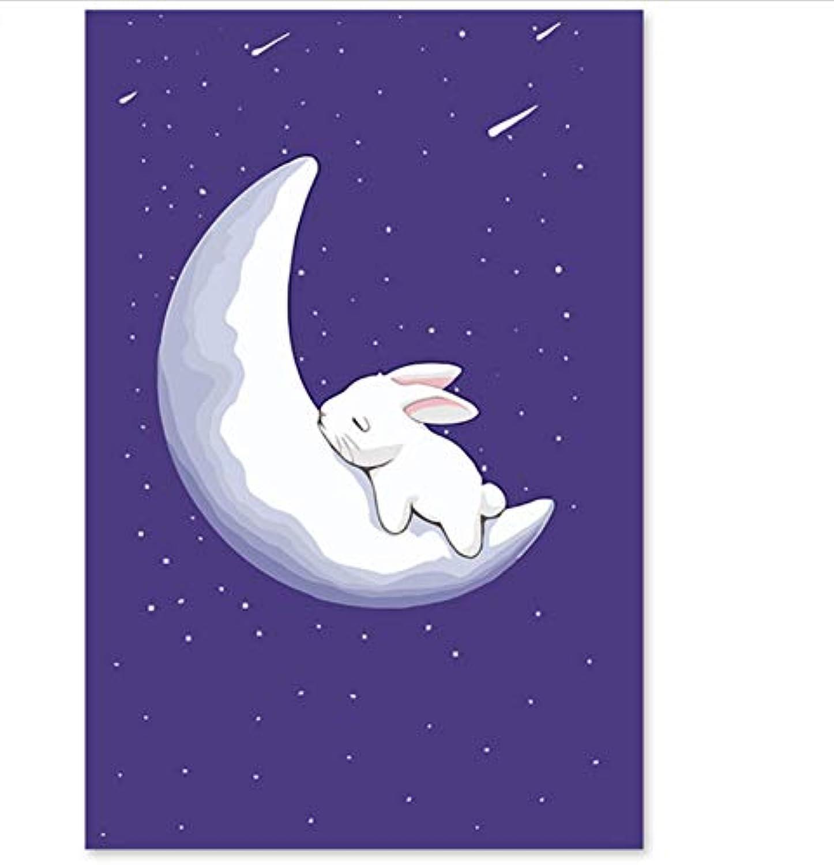 XIGZI Digitaler Anstrich- manueller dekorativer Anstrich- Farbton von Mid-Autumn Rabbit Own Farbe 40X50 cm,Mit Holzrahmen,D B07P4WTDN6 | Jeder beschriebene Artikel ist verfügbar