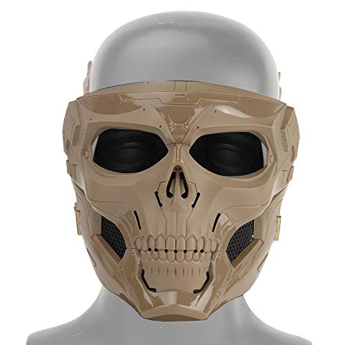 Taktische Schädel Airsoft Maske, Vollgesichtsschutzmaske Paintball CS Hockey Halloween Maskerade Cosplay Augenschutz Skeleton Maske für Outdoor Aktivitäten Party Filmrequisiten,Braun