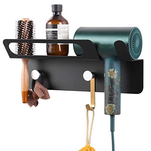 KEESIN Soporte de pared para secador de pelo, compatible con secador de pelo Dyson Supersonic (negro)