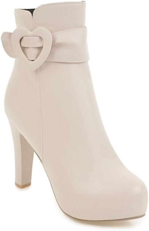 pink town Women's Buckle Strap High Heel Stiletto Platform Ankle Bootie