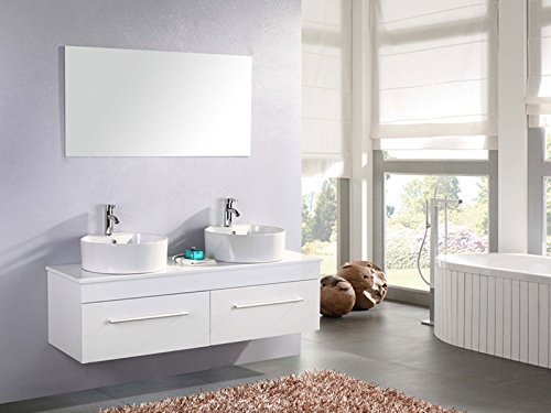 Muebles para baño para cuarto de baño White Cardellino con espejo 150 cm grifos incluido