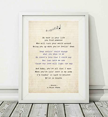 Didymus Co Bryan Adams – Heaven – Songtext Posterdruck (ungerahmt) – Größen A4 A3, A3