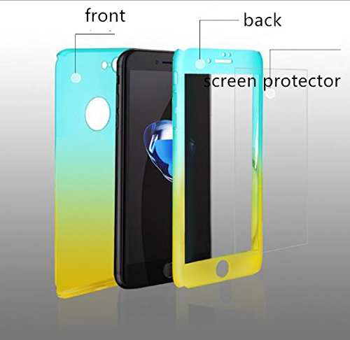 Auroralove iPhone X Full Body Hard Case,iPhone X Slim Sleek Front Back Case, 360 Degree All Around Shockproof Cover with Tempered Glass Screen Protector for iPhone X 5.8 Inch(Blue Green)