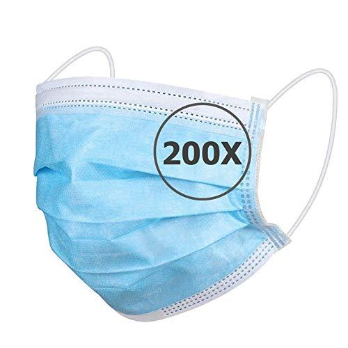 TBOC Maschera Igienica Monouso - [Pack 200 Unità] Mascherina [Blu] in Polipropilene a 3 Strati Leggera e Morbida Traspirante con Clip per Naso Protezione Facciale Alta Filtrazione Non Riutilizzabile
