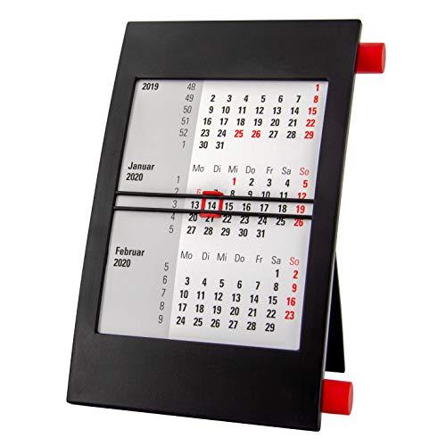 Truento 3-Monats-Tischkalender für 2 Jahre (2020 & 2021) - mit Drehmechanik - schwarz/rot