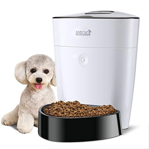 ROMEKER Automatic Cat Feeder 4L Smart Pet Feeder Auto Dog Cat Food Dispenser Timed Cat Feeder Large Dog Food Feeder 6 Meal,Timer Programmable Portion Control Battery/Plug-in Power